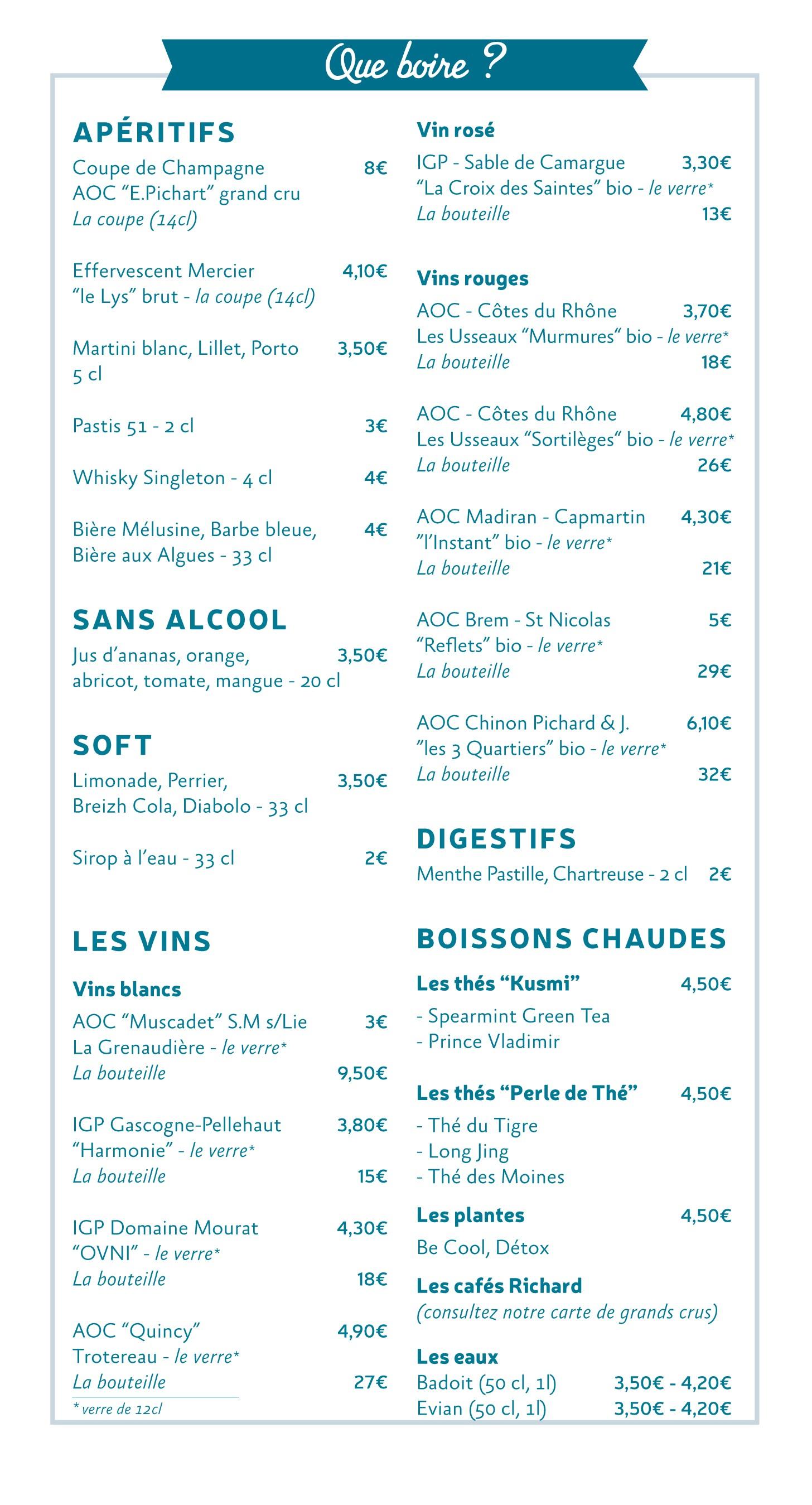 vendee mag restaurant la roche-sur-yon aux algues etc carte des boissons